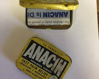 Vintage Anacin metal containers set of 2