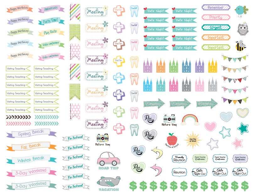 Children S Calendar With Stickers : Cute and colorful lds themed planner calendar stickers
