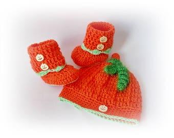 Halloween Pumpkin Hat boots Thanksgiving Pumpkin Hat Orange Crochet Pumpkin Hat shoes Cap Beanie Baby set hat boots