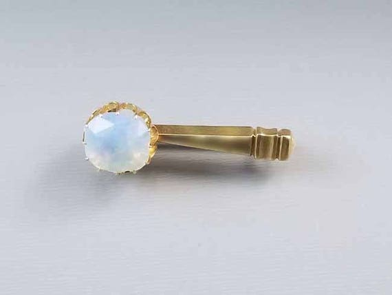Antique Georgian 1830s 14k gold faceted opaline paste Halley's Comet brooch pin