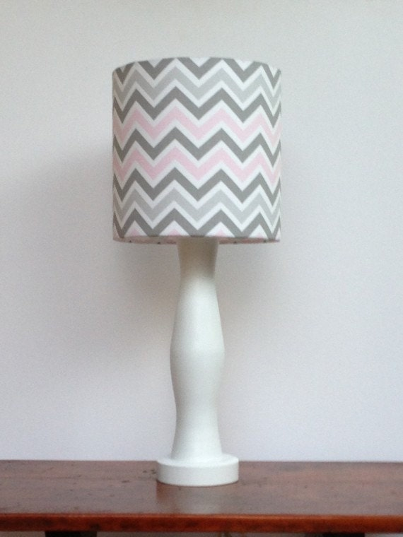 Medium Pink Grey White Chevron Drum Lamp Shade Nursery Or