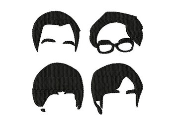 Big Bang Theory - Silhouette ~ Filled Machine Embroidery Design - Sheldon, Leonard, Raj,Howard