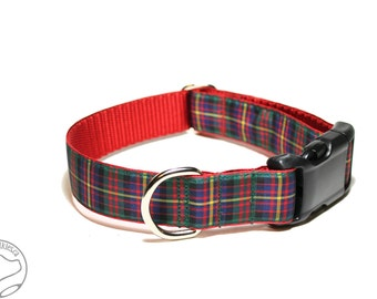 """Cameron Clan Tartan - 1"""" (25mm) Wide - Cameron of Erracht Plaid Dog Collar - Martingale or Side Release - Choice of collar style and size"""