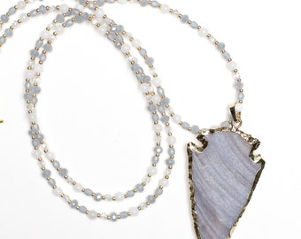 Gray and White Beaded Necklace + Arrowhead