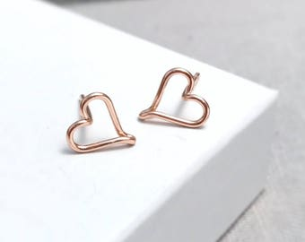 Rose Gold Heart Studs | Heart Earrings | Rose Gold Studs | Delicate Stud Earrings | Bridesmaid Gift | Gift for Her | Heart Jewellery