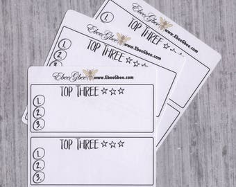 TOP 3 set of 6 Thin Hand Drawn Large Box Note Page Planner Stickers