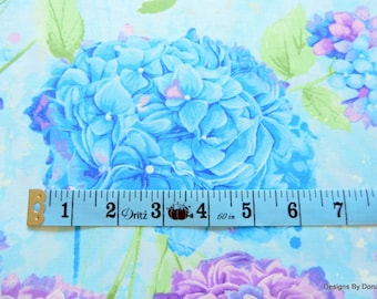 """One Half Yard Cut Quilt Fabric, Blue & Lavender Hydrangea, """"Harmony"""" by CHONG-A HWANG for Timeless Treasures, Sewing-Quilting-Craft Supplies"""