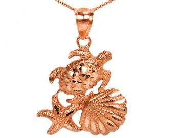 14k Rose Gold Beach Necklace