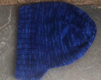 Handknit, Winter Hat, Blue, Cosy, Snug, Pixi Hat, Adult, Stretchy, Warm,  ilovepinkgeraniums