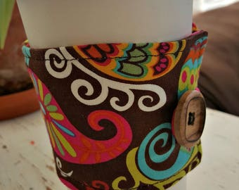 Whimsy Paisley (Hot pink, green orange, yellow, aqua and brown) Java Jacket/Coffee Cup Cozy/Reusable/Mug Cozy - FREE SHIPPING