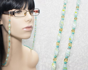 Aqua Blue and Yellow Eyeglasses Chain / Beaded Glasses Chain