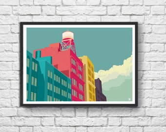 Art-Poster 50 x 70 cm - Water Tower + Building in New York City