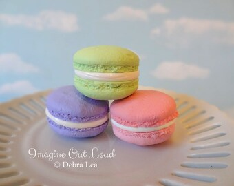 FAUX MACARON Set Citrus Green Pink and Purple