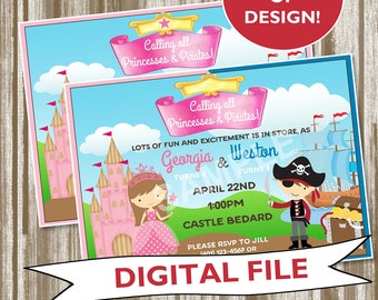 Dual Theme Princess & Pirate Invitation for Joint Parties--Personalized Digtial File