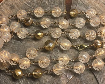 Necklaces Handmade brass vintage lucite gold and clear hand wired