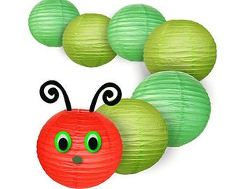 Just Artifacts 16inch Classroom Caterpillar Paper Lanterns Kit - Red, Green, & Light Green Lanterns - Eyes, nose and antennae not included.