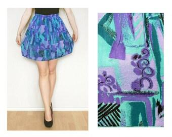 Blue skirt - short vintage skirt green purple violet lilac lavender