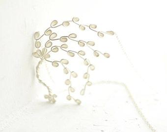 Birch Tree Necklace, White Necklace, Aspen Branch Jewelry