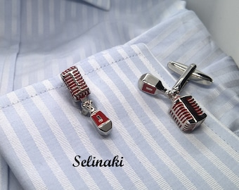 Retro Microphone Cufflinks Silver and Red