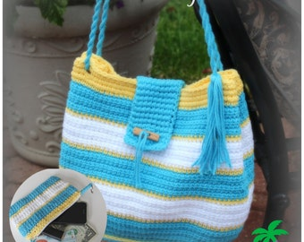 Crochet Pattern Tote Beach Bag and Wristlet PDF 14-146 INSTANT DOWNLOAD