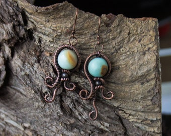 Amazonite octopus copper wire wrapped earrings