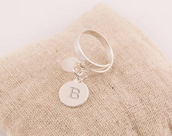 Sterling Silver ring adjustable modern engraved - personalized engraved jewelry pendant