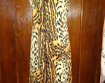 1960's Leopard Print Roll Neck Maxi Dress Tiki size Medium Large