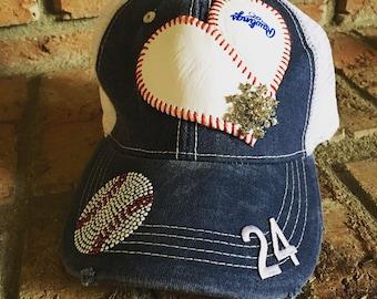 Baseball Hat With Real Baseball Heart--Great Gift for Baseball Moms!