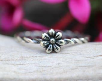 Stacking Ring Sterling Silver Stacking Ring Flower Ring Silver Stackable Rings Sterling Silver Rings Flower Ring Silver Flower Ring