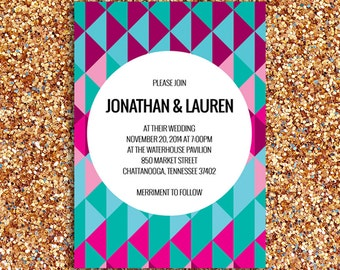 Modern and Geometric Wedding Invitation | Printed Paper Goods or Digital File