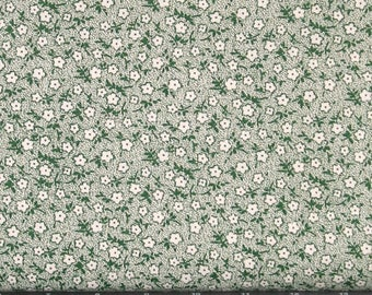 Green Floral on Cream Background 100% Cotton Quilt Shabby Chic Fabric for Sale from Marshall Dry Goods, Calico Fabric, MDGCalico-85