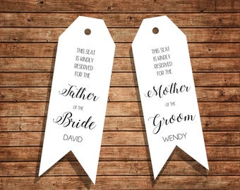 Wedding Ceremony Seat Reservations for Father & Mother Version 2 / Instant Download / Editable PDF