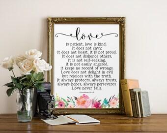 Bible Verse Print,Love is patient, Love is kind, Christian Art, 1 Corinthians 13 : 4-8, Bible Verse Wall Art, Inspirational Art, Watercolor