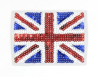 England Flag UK Flag Patch Sequin Patch Sew On / Iron On DIY Patch Embroidered Applique 8.5x6cm - RP476