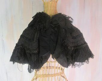 1800s Victorian Mourning Capelet Cloak with Jet Beading