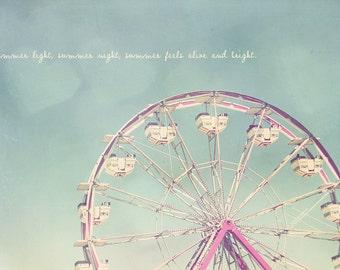 Ferris Wheel Photography, Typography Print, Baptism Gift, Sweet 16 Gift, Wanderlust Print, Custom Photo Gift, Pastel Nursery Decor