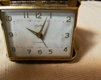 Old 50's Hard Case Travel Alarm Clock