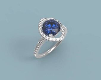 White Gold Sapphire Halo Engagement Ring Sapphire Ring White Gold Ring Sapphire Diamond Engagement Ring Sapphire Halo Ring Halo