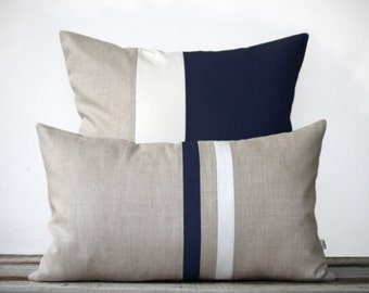 Navy Decorative Pillow Set - (12x20) Stripe and (20x20) Color Block by JillianReneDecor - Modern Home Decor - Minimal - Nautical
