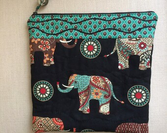 Elephant design quilted zipper wash bag/makeup/storage bag - zipper pouch