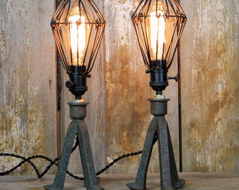 Railroad Steampunk Table Lamps - Railroad Spike Table Lamps #133