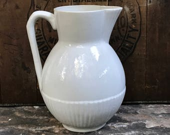 white ironstone pitcher ~ large white ironstone pitcher ~ great lines ~ antique American ironstone pitcher ~ rustic vase ~ farmhouse antique
