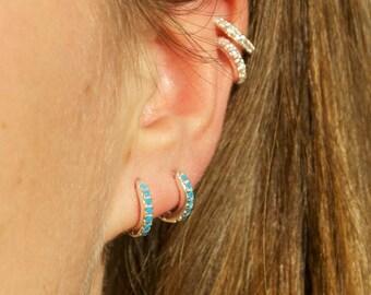 Turquoise hoops - tiny gold hoop earrings - hoop earrings - gold hoop earrings - tiny gold hoops - hoop earrings - hoops -E4-HU-0209-TUR
