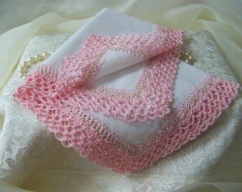 Ladies handkerchief, Ladies Hanky, Ladies Hankie, Girls Personalized Gift, Crochet Lace, Custom Embroidered, Lace Hanky, Ready to ship