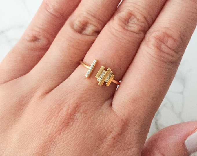 Adjustable Gold Bar Ring