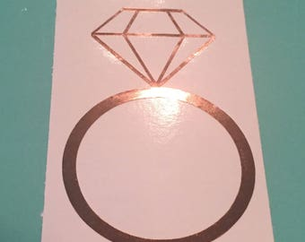 Rose Gold Engagement Ring Vinyl Decal