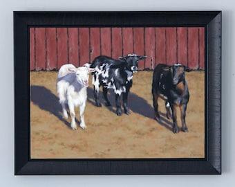 Goat Painting Original Art Oil Painting Farmhouse Decor Framed Wall Art by Sarah Becktel