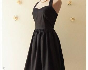LITTLE BLACK DRESS : Black dress lbd dress party dress Selena Black Dress bridesmaid dress vintage inspired dress halter or strap