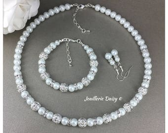 Bridesmaid Gift Pearl Necklace Bridesmaid Jewelry Set Gift for Bridesmaid  Rhinestones Necklace Maid of Honor Gift Wedding
