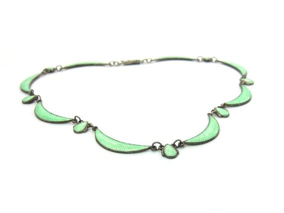 Vintage Mint Green Scandinavian Guilloche Enamel Art Deco Necklace